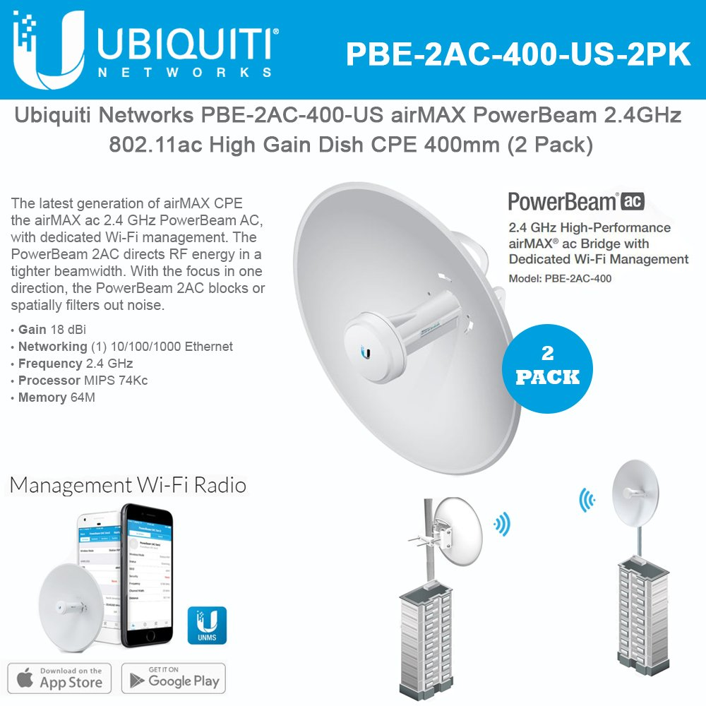 Ubiquiti Network PBE-2AC-400 US airMAX PowerBeam 2.4GHz 802.11ac High Gain Dish CPE 400mm (2 Pack) by Ubiquiti Networks