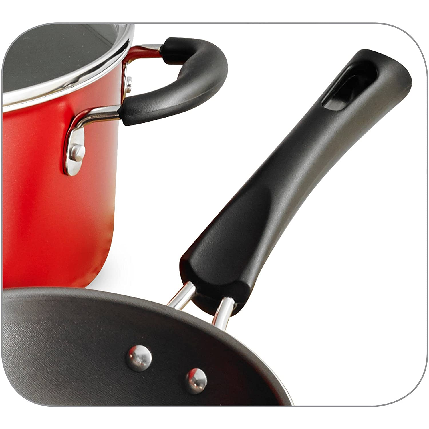Tramontina 9-Piece Simple Cooking Nonstick Cookware Set Red