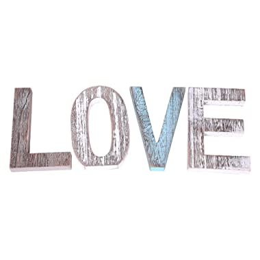 "Comfify ""Love"" Decorative Wooden Letters – Large Wood Letters for Wall Décor in Rustic Blue, White and Grey – Rustic Home Decoration for Living Room - Rustic Home Décor Accents – Farmhouse Decor"
