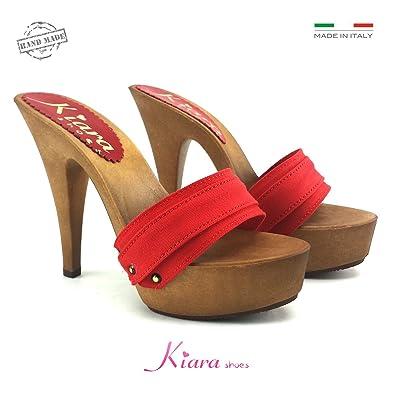 kiara shoes K9301 Rosso, Damen Clogs & Pantoletten rot rot 37, rot - rot - Größe: 35 EU