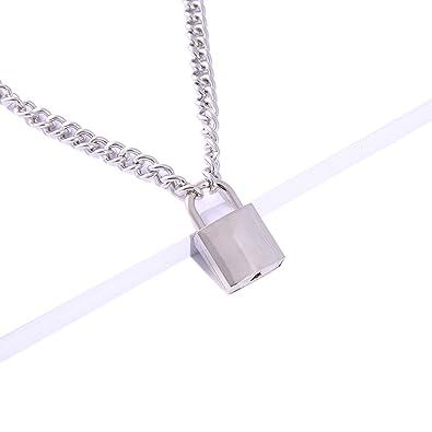 Amazon.com: LXY LXY - Cadena de plata con candado para ti ...