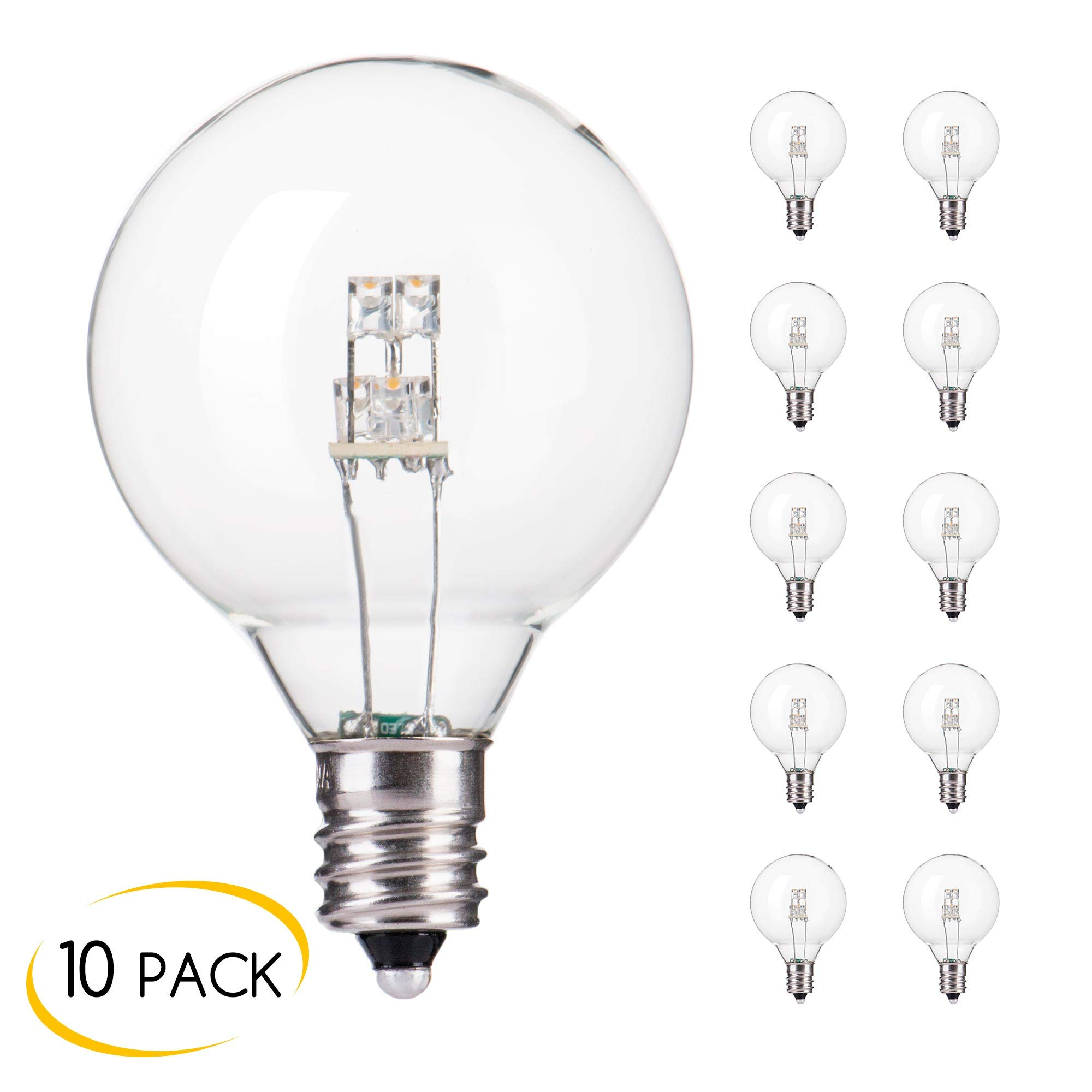 10-Pack LED G40 Replacement Bulbs, E12 Screw Base LED Globe Light Bulbs for Patio String Lights, Equivalent to 5-Watt Clear Light Bulbs by Brightown