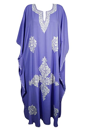 09284964ed75 Mogul Bohemian Ladies Kashmiri Kaftan Embroidered Purple Caftan Cover Up  Evening Dress Large  Amazon.co.uk  Clothing