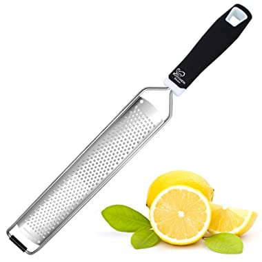 K Basix Citrus Zester & Cheese Grater - Rust-Free Stainless Steel Razor Sharp Blades - Perfect to Zest & Shred Cheese, Citrus Fruits, Lemon, Nutmeg, Ginger, Garlic, Coconut, Chocolate and Much More!