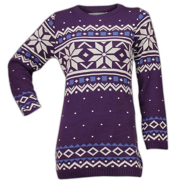 Women Christmas Fair isle Retro Knitted Long Novelty Jumper ...