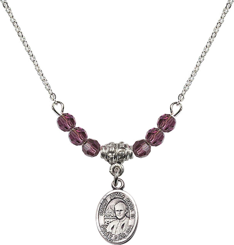 Bonyak Jewelry 18 Inch Rhodium Plated Necklace w// 4mm Purple February Birth Month Stone Beads and Saint John Paul II Charm