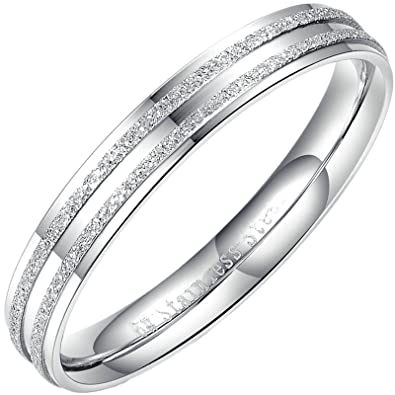 Amazon com: Aokarry Ring-Stainless Steel Wedding Bands Rings