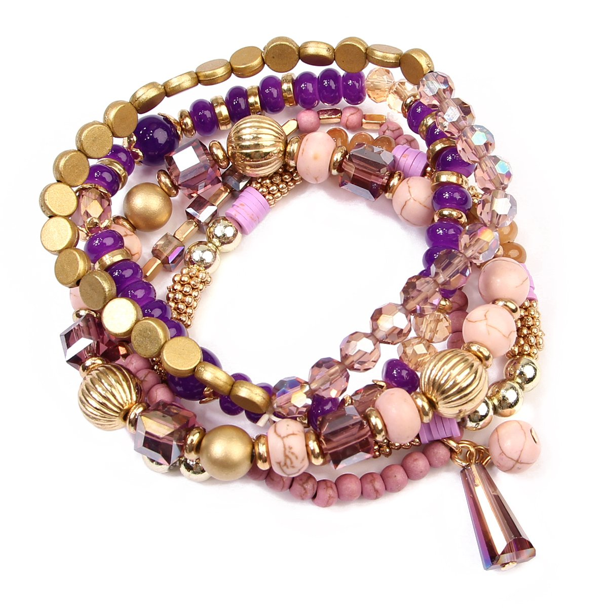 RIAH FASHION Bead Layering Multi Color Statement Bracelets - Stackable Beaded Strand Stretch Bangles (Purple)