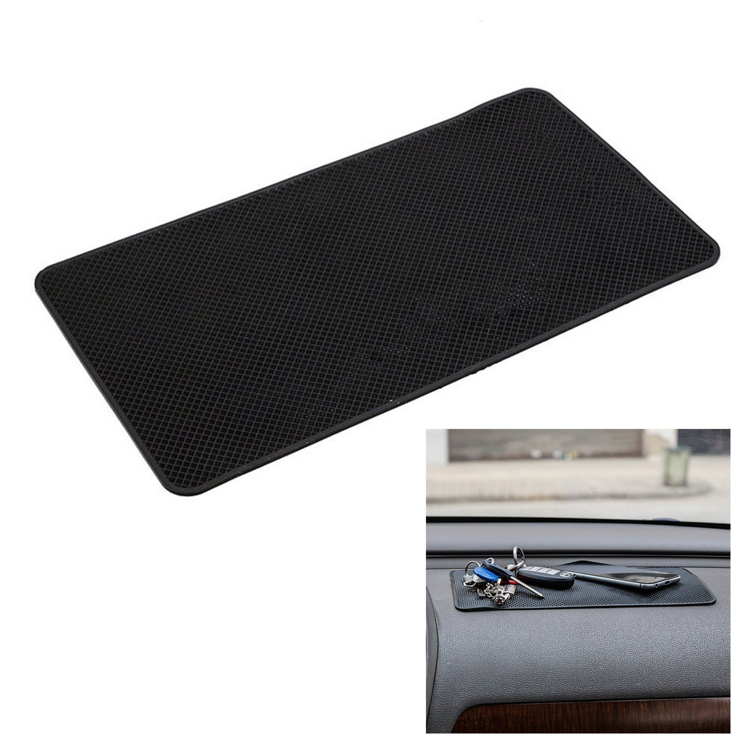FGF-EU Non-slip Silicone Car Dashboard Mat Sticky Pad Adhesive Mat for Cell Phone,Electronic Devices,GPS, Coins