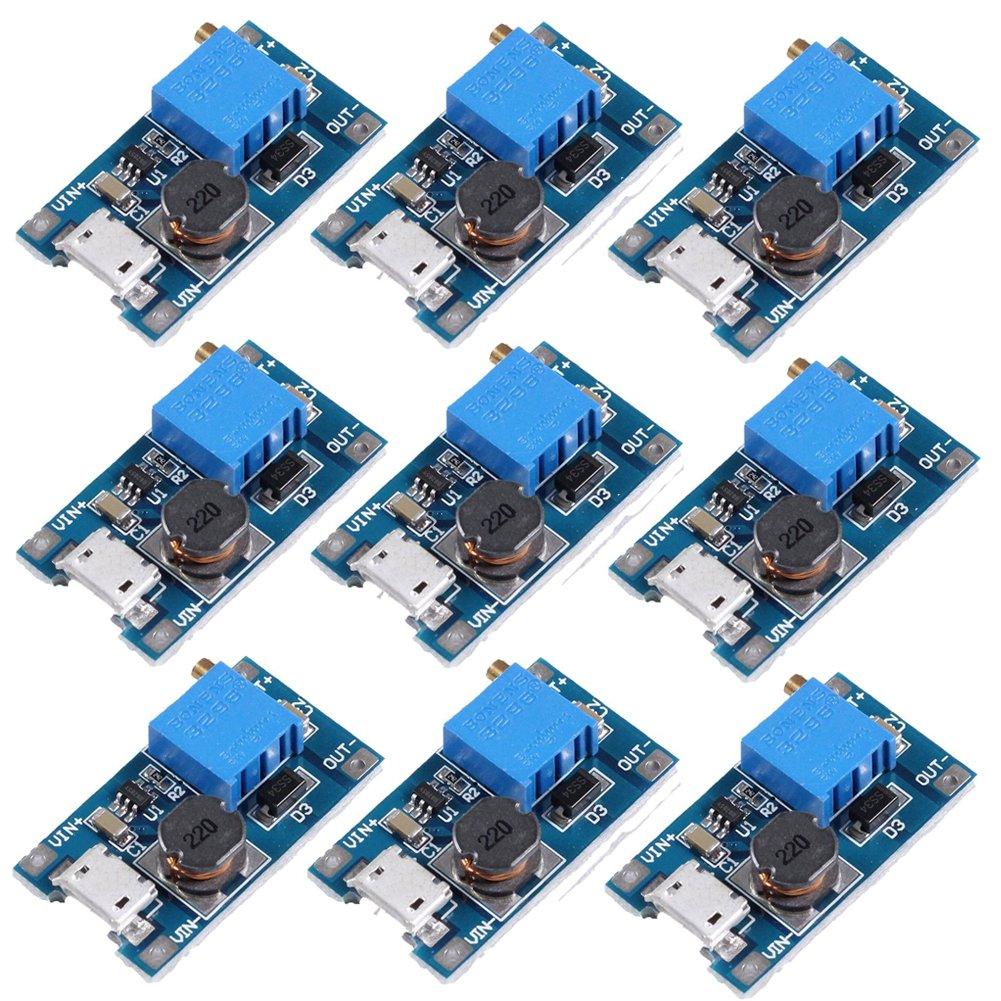 Icstation MT3608 Mico USB DC Voltage Regulator Step Up Boost Converter Power Supply Module 2V-24V to 5V-28V 2A (Pack of 10) MT3608 DC-DC Step Up Voltage Regulator