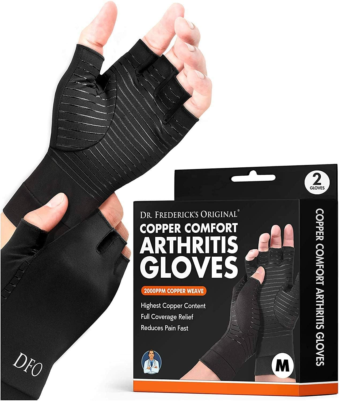Dr. Frederick's Original Copper Comfort Arthritis Glove - 2 Gloves - Perfect Computer Typing Gloves - Fit Guaranteed - Medium