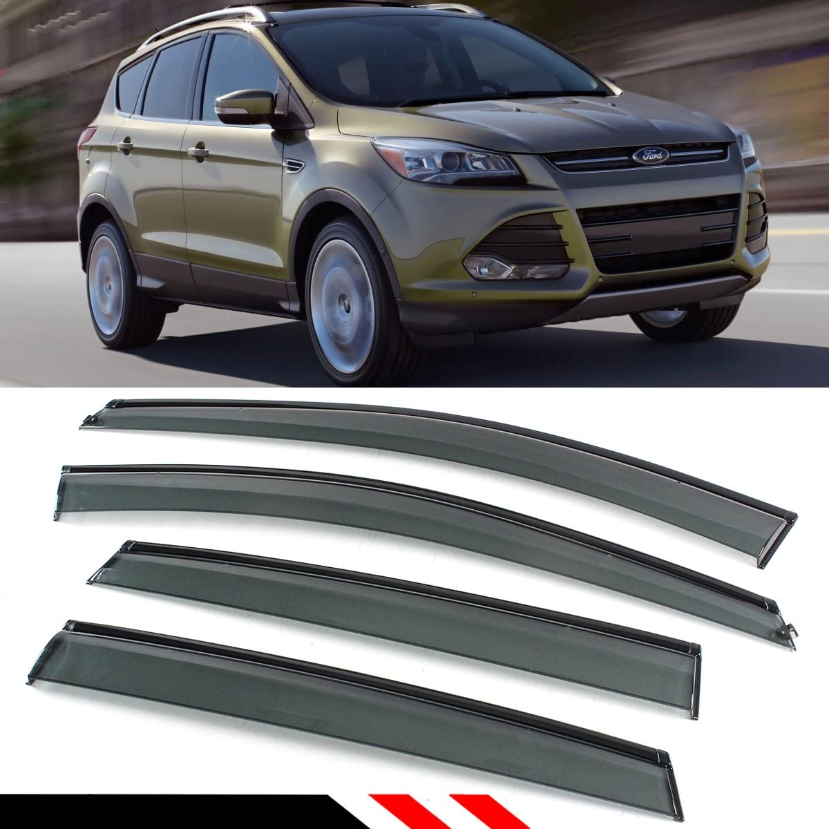For Ford Escape 2013-2016 Window Visor Sun Guard Outside Mount Light Grey 4pcs
