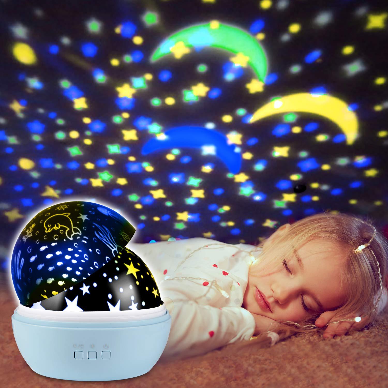 Ubegood Veilleuse Projecteur, Lampe Etoile Projecteur de Lumière Nuit LED Lumière Enfant Nuit Lampe Rotative avec 8 Couleurs Veilleuse Etoile pour Bébé Lampe Chevet Romantique Décoration Cadeau,Blanc