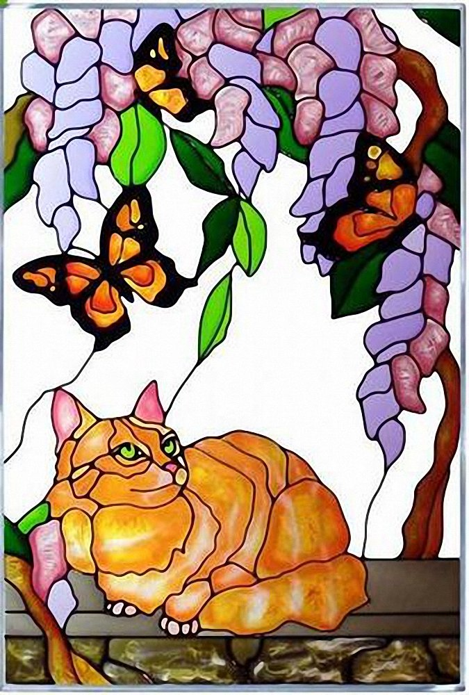 Tabby Cat Yellow Butterfly Vertical Art Glass Panel Wall Hanging