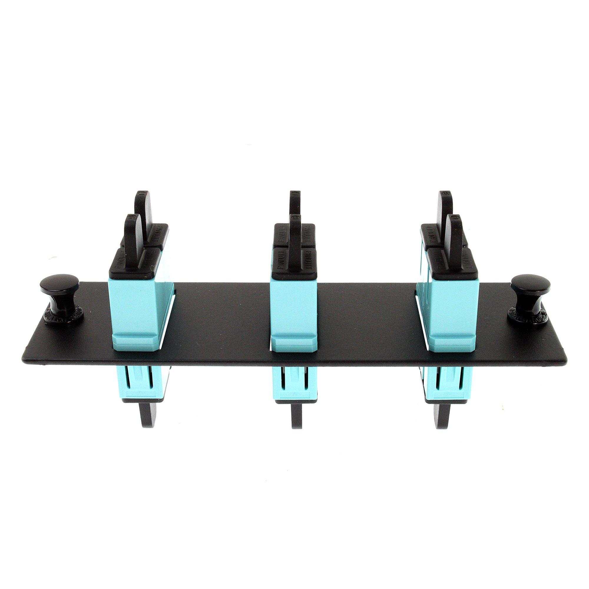 Panduit FAP3WAQDSC Multi-Mode 3-Port Fiber Adapter Panel with Phosphor Bronze Split Sleeve, Aqua