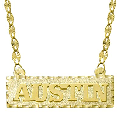 2bb1a8bbeca2c0 Amazon.com: Pyramid Jewelry 14K Yellow Gold Personalized Name Plate Necklace  - Style 1 (16 Inches, Twisted Star Chain): Jewelry