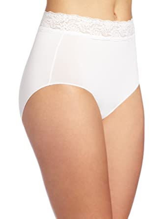 93459266a5e8 Bali Women's No Lines No Slip Brief Panty with Lace Waistband at Amazon  Women's Clothing store: Briefs Underwear