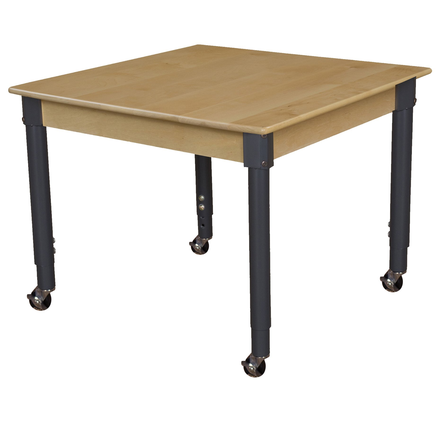 Wood Designs WD837A1829C6 Mobile 36'' Square Hardwood Table with 20''-31'' Adjustable Legs