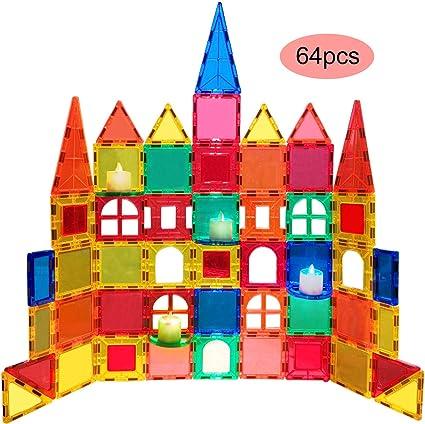 3D Magnetic Toys 64PCS Set Magnetic Building Blocks Tiles  Boys Girls Gift