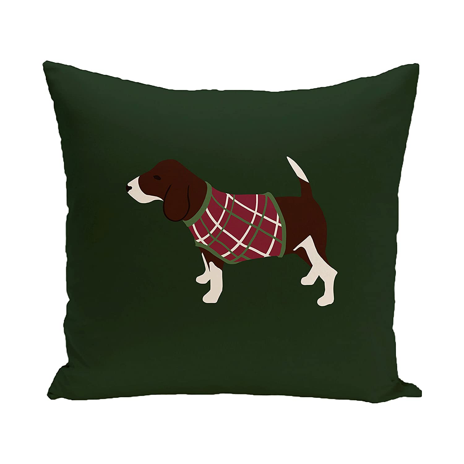 Dark Green E by design PHAN253GR26-16 Warmest Wishes Decorative Holiday Animal Print Pillow 16 by 16