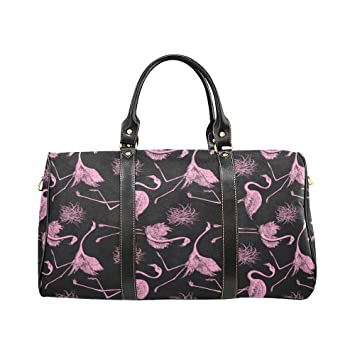 Pink Flamingo Travel Duffel Bag Waterproof Luggage Weekend Bag with Strap 6b71d95189f
