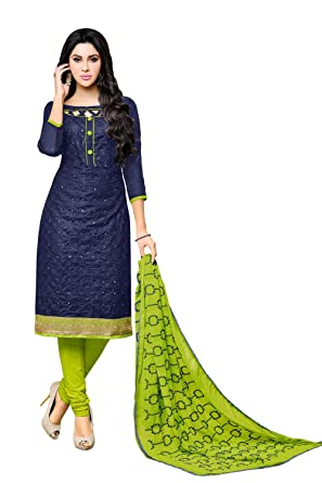 6a2aabfd3a Applecreation Women'S Cotton With Mirror Work Unstitched Salwar Suit (Navy  Blue_Free Size)