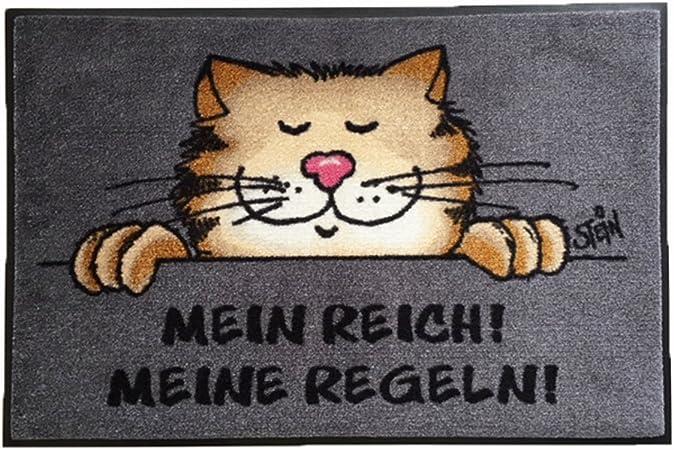 Wash + Dry Felpudo lavable© Uli Stein gato – Mein Reich. Mis Reglas. 50 x 75 cm divertido, limpiabarros con dibujos animados diseño: Amazon.es: Hogar