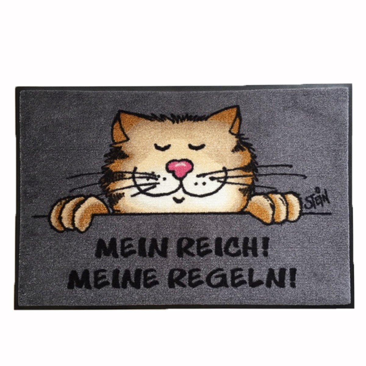 40x60 cm wash+dry Waschbare Fußmatte ©Uli Stein Katze Mein Reich Meine Regeln