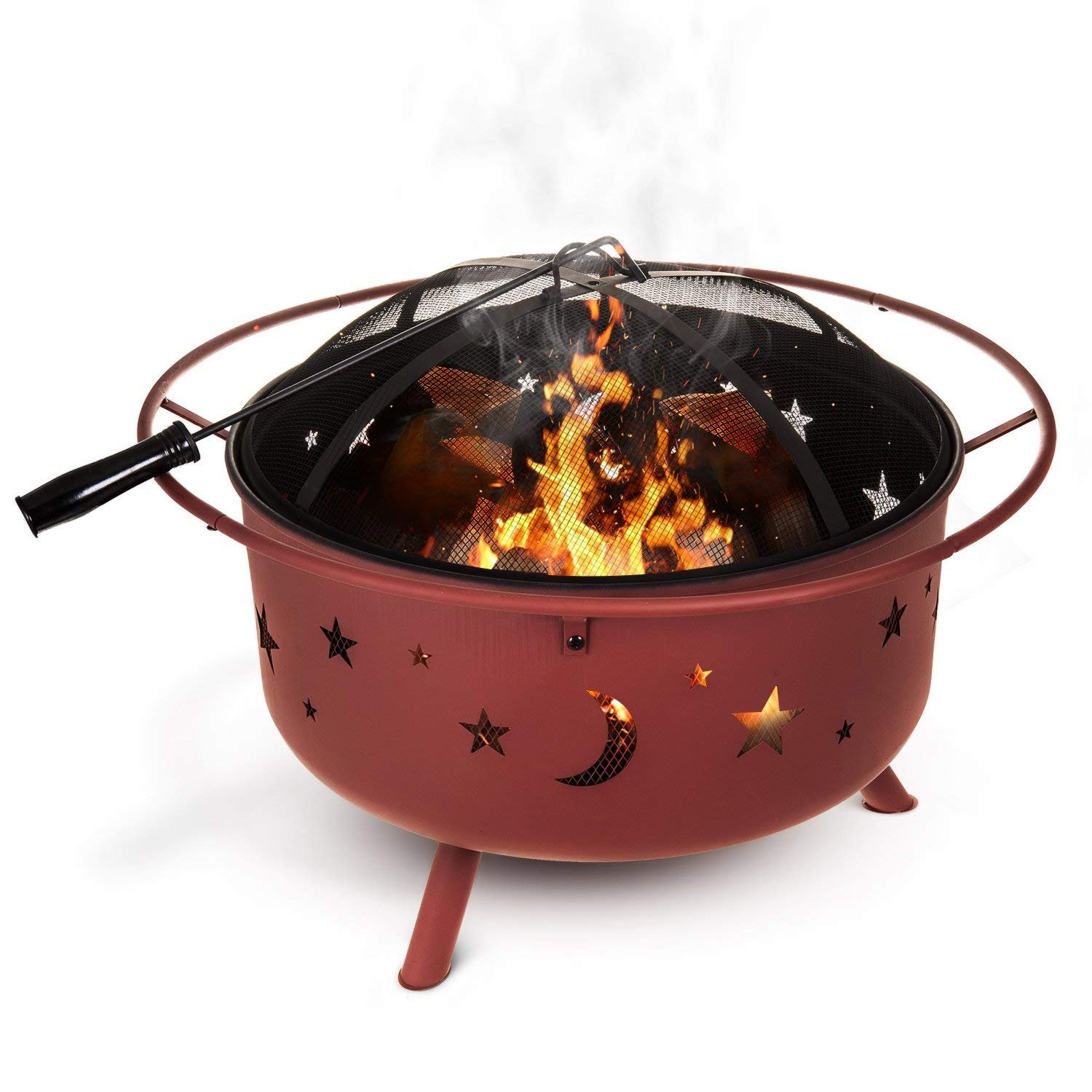 Fineway Stunning Firepit Fire Pit Bowl Basket Patio Heater Log Burner With Spark Guard, Poker Stick And Cover - Garden Outdoor Camping - For Logs and Charcoal - Moon and Stars Finish with Waterproof Cover Fineway.