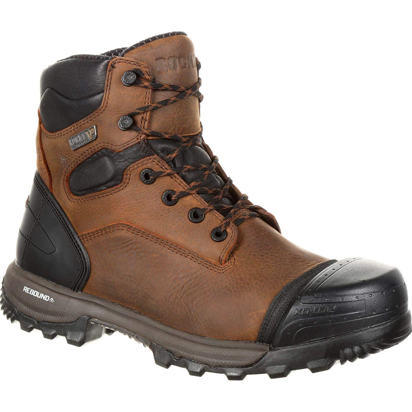Rocky Men's Xo-Toe Waterproof Work Boot Round Toe Brown 8 D