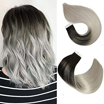 Tape In Hair Extensions Human Hair Balayage Ombre Hair 20pcs 50g Per Set Natural Black Fading To Silver