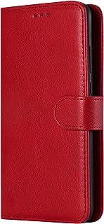 Lomogo Coque Huawei P30, Housse en Cuir Portefeuille avec Porte Carte Fermeture par Rabat Aimanté Anti Choc Etui de Protection pour Huawei P30 - LOKTU110058 Rouge