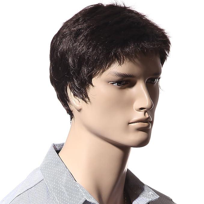 Peluca Songmics pelo hombres liso marrón oscuro corto para carnaval disfraz fiesta WMF014: Amazon.es: Belleza