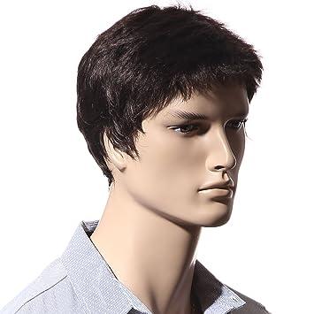 Peluca corta Songmics para hombre, cabello liso, peluca a prueba de calor, para Carnaval, cosplay, fiesta de disfraces, marrón, WMS123: Amazon.es: Belleza