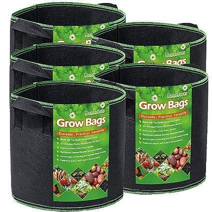 Amazon.com: Beneroots - 5 bolsas de cultivo con asas de ...