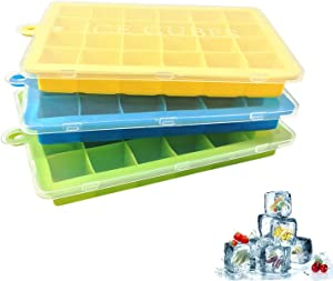 Ice Cube Trays, Large Silicone Ice Tray with Lid,3 Pack Baby Food Freezer Tray, Ice Cube Molds 24 Cubes per Tray for Cocktail, Whiskey, Chocolate