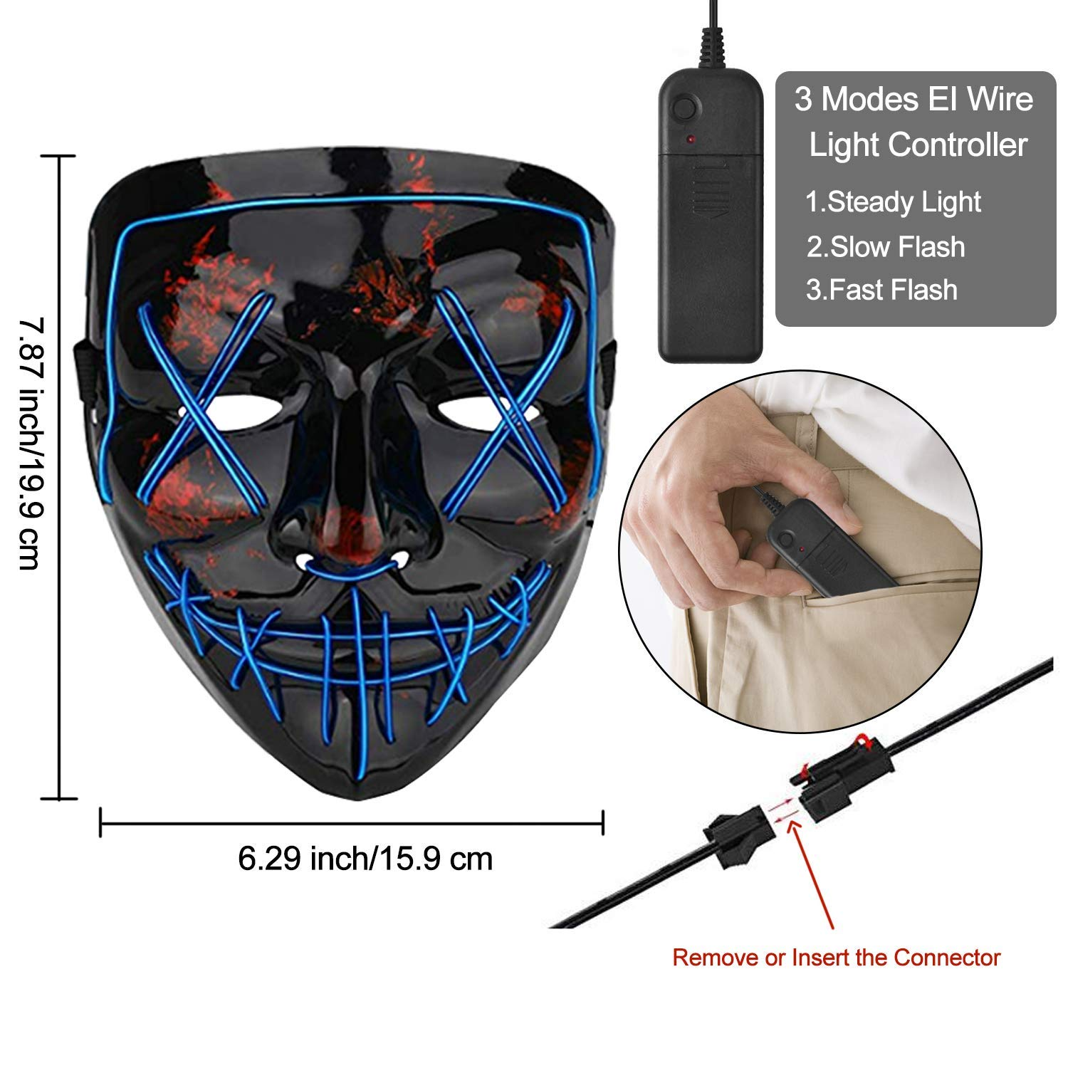 WLWQ 2-Pack Halloween Mask Unisex Scary LED Light Up Mask for Halloween Festival Cosplay Costume Party