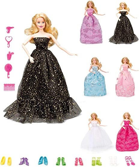 5pcs//Lot For Doll Fashion Princess Dresses Outfits Party Wedding Clothes