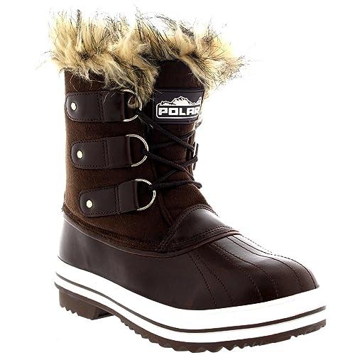 Mujer Manguito De Piel Cordones Caucho Corto Nieve Lluvia Zapato Botas - BRS39 - AYC0082: Amazon.es: Zapatos y complementos