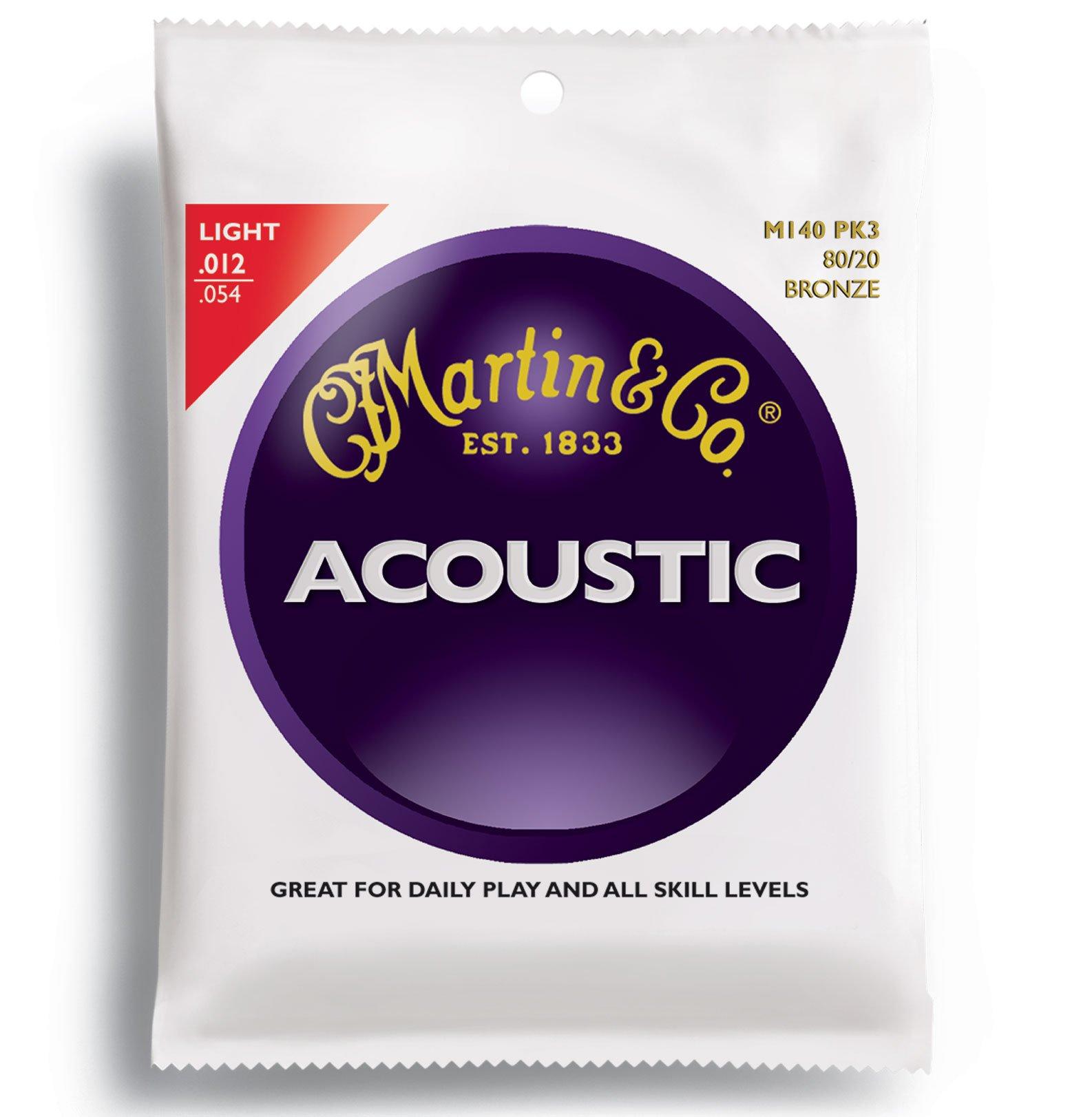 Martin M140 80/20 Acoustic Guitar Strings Light 3 Pack 2