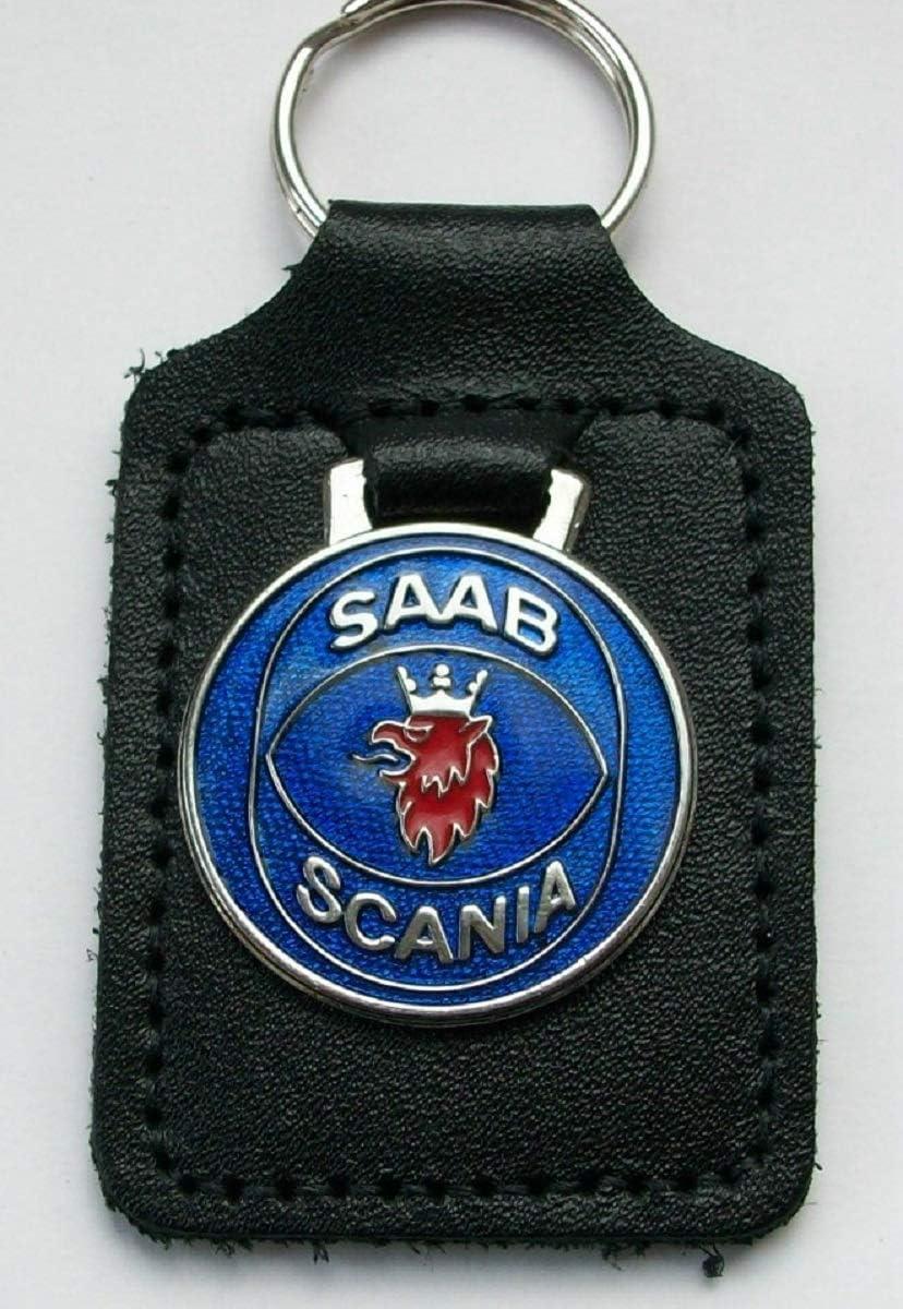 Saab Scania Schlüsselanhänger Emaille Und Leder Auto