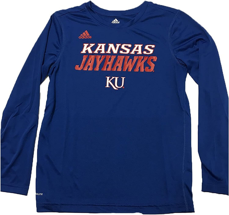 adidas Kansas Jayhawks Youth Climalite Team Long Sleeve Performance Shirt