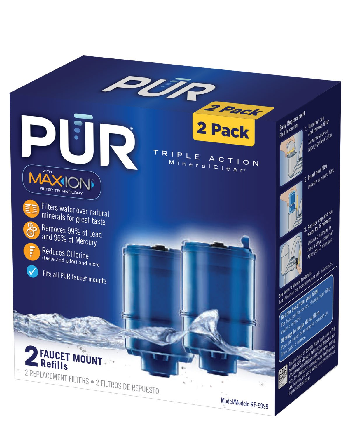 PUR MineralClear Faucet Mount Replacement Water Filter Refill, 2 Pack, Water Filter Replacement for Sink Faucet Mounted Water Filter Systems, Filters Up To 100 Gallons of Water, RF-9999 by PUR (Image #2)
