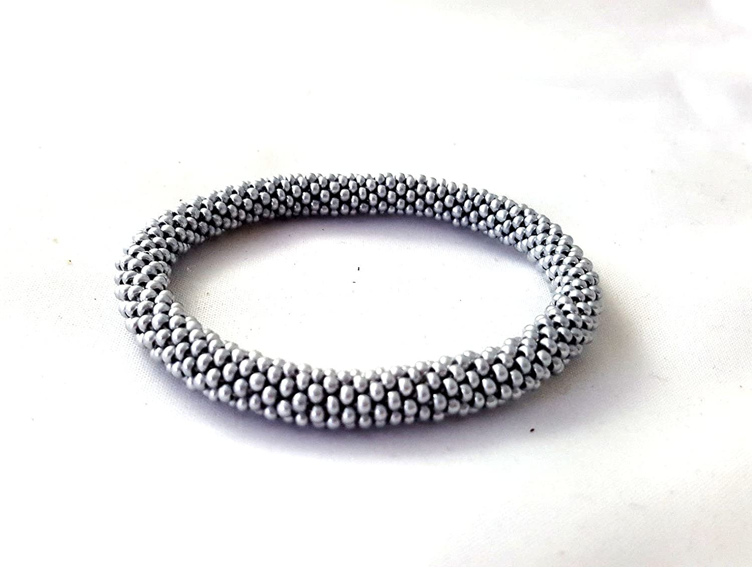 Silver Roll On Bracelet Nepal Native Bangle Beaded Wristband