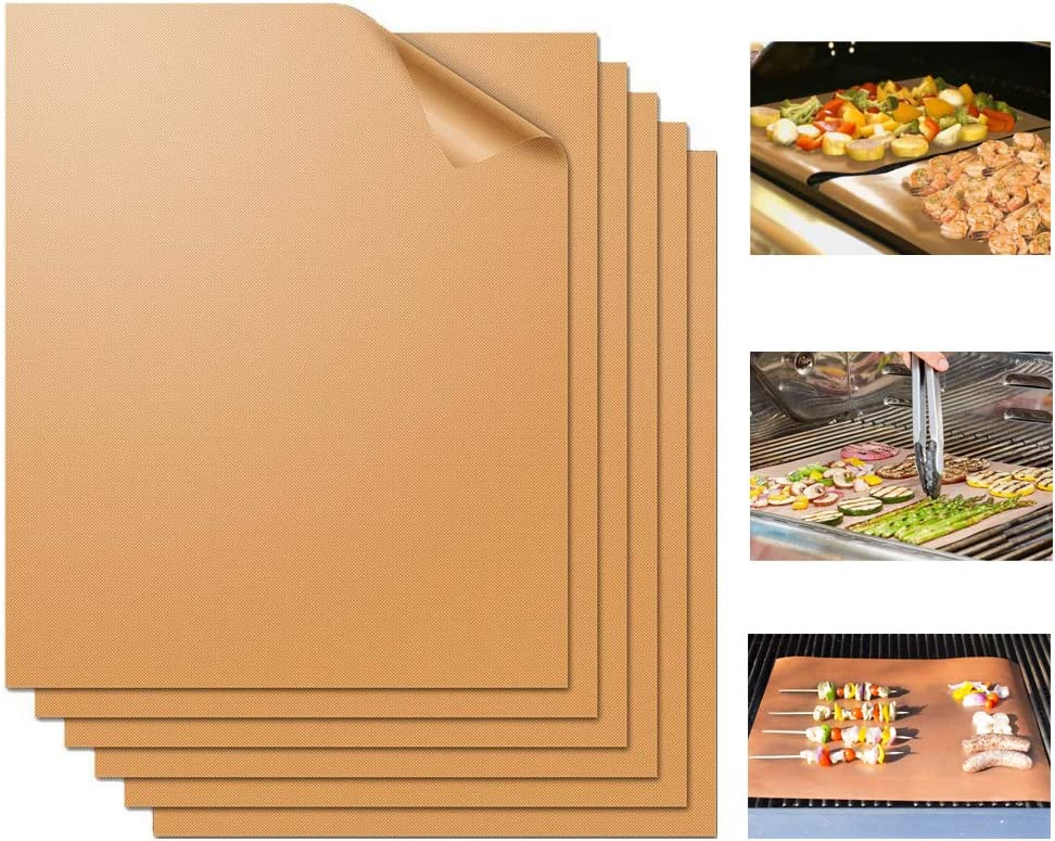 Miaowoof Copper Grill Mat Set of 6-100% Non-Stick BBQ Grill Mats, Heavy Duty, Reusable, and Easy to Clean - Works on Electric Grill Gas Charcoal BBQ 15.75 x 13-Inch(6 Pcs Solid Mat