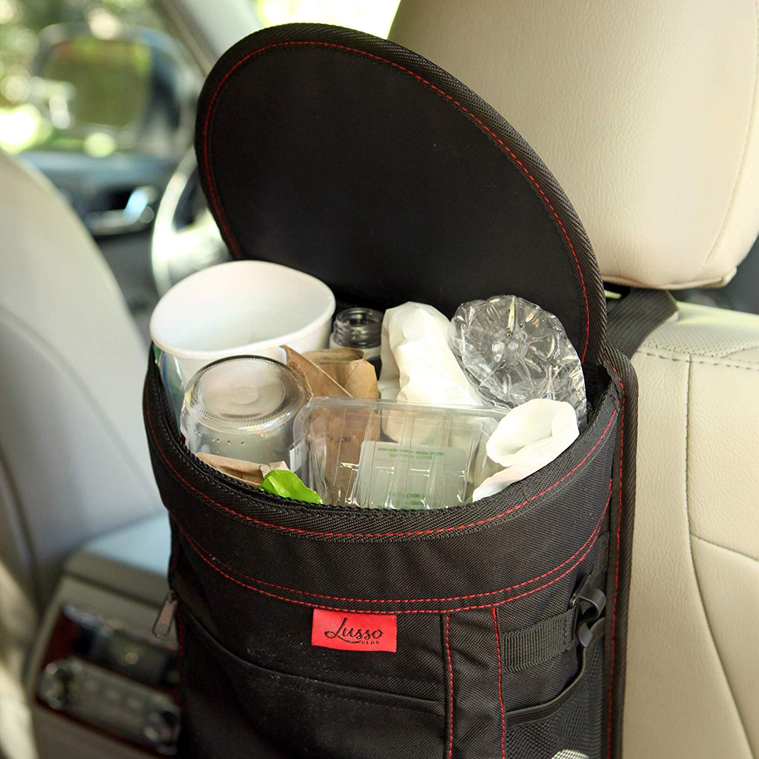 Large 2.5 Gallon Capacity Easy Hanging or Mounting In Car//Truck//Minivan//SUV//Auto Lusso Gear Car Trash Can Compact Design Flip Open Lid Storage Pockets Vinyl Leakproof//Removable Trash Liner