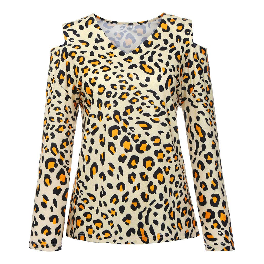 9a909331ad7 Byyong Leopard Print Tops for Women Plus Size Long Sleeve Print V-Neck  Strapless Pullover Tops Shirt .