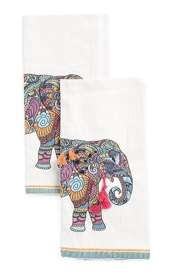 Envogue Elephant Kitchen Dish Towels Set Of 2, Decorative Tea Towels Cotton  Jacquard