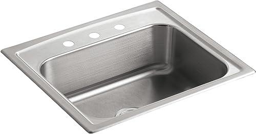 KOHLER K-3348-3-NA Toccata Single-Basin Self-Rimming Kitchen Sink, Stainless Steel