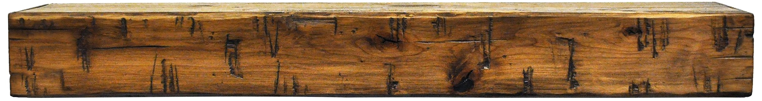 Dogberry Collections Rustic Mantel Shelf, Aged Oak, 72''